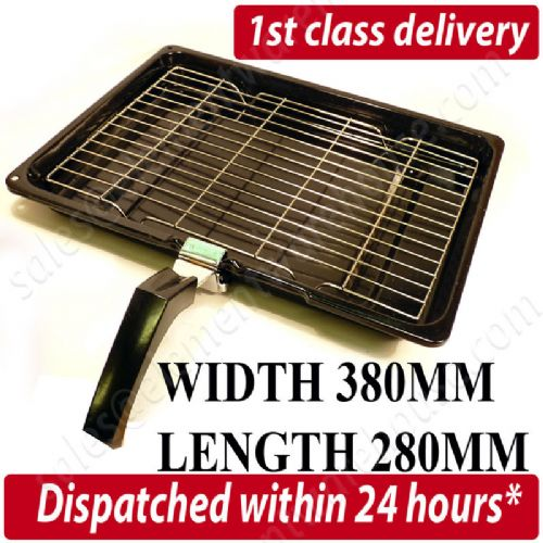 Universal Oven Cooker Grill Pan Tray And Wire Rack 380Mm X 280Mm